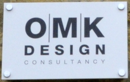 OMK Design Consultants sign