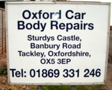Oxford Car Body Repairs sign