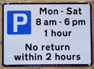1 hr parking sign
